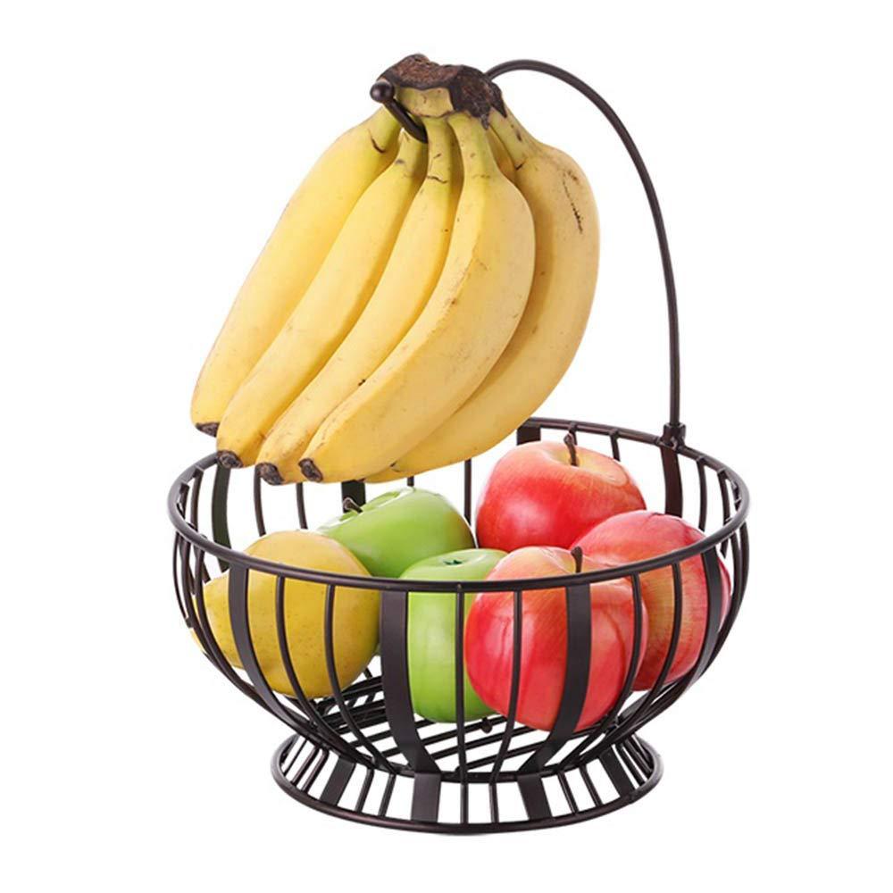 LARRY SHELL Banana Hanger Fruit Basket   Round Metal Standing Baskets   Fruit Vegetable Garlic Caddy   Freestanding Rustic Decorative Basket with Detachable