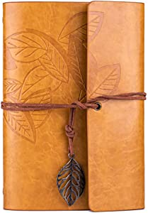 MODANA Leather Writing Journal Notebook,Refillable Sketchbook,Vintage Leaf Embossed Blank Diary,Classic Spiral Bound,Best Gift for Writers and Travelers, Men or Women (Gold yellow)
