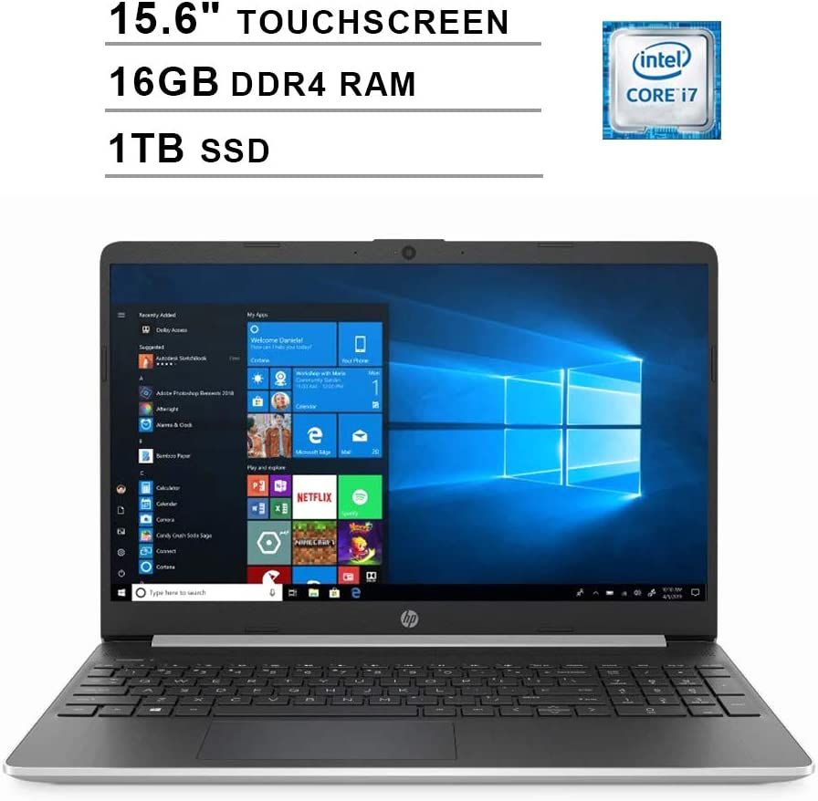 2020 HP Pavilion 15.6 Inch Touchscreen Laptop (Intel 4-Core i7-1065G7 up to 3.9GHz, 16GB DDR4 RAM, 1TB SSD, Intel Iris Plus Graphics, HDMI, WiFi, Bluetooth, Webcam, Windows 10 Home)