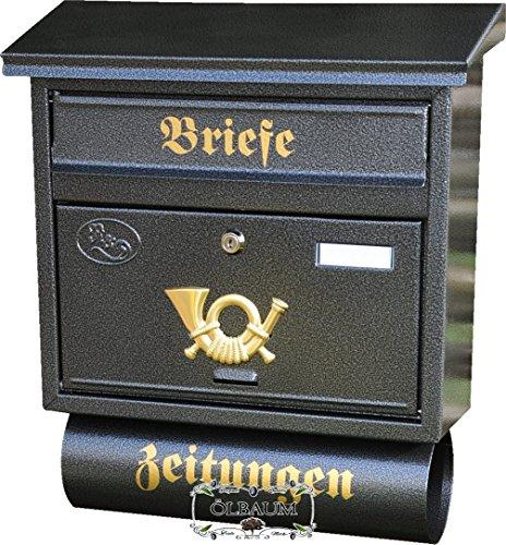Großer Massivstahl-Briefkasten, verzinkt mit Rostschutz Flachdach F schwarz anthrazit dunkelgrau mit Katalogeinwurf und Zeitungsrolle