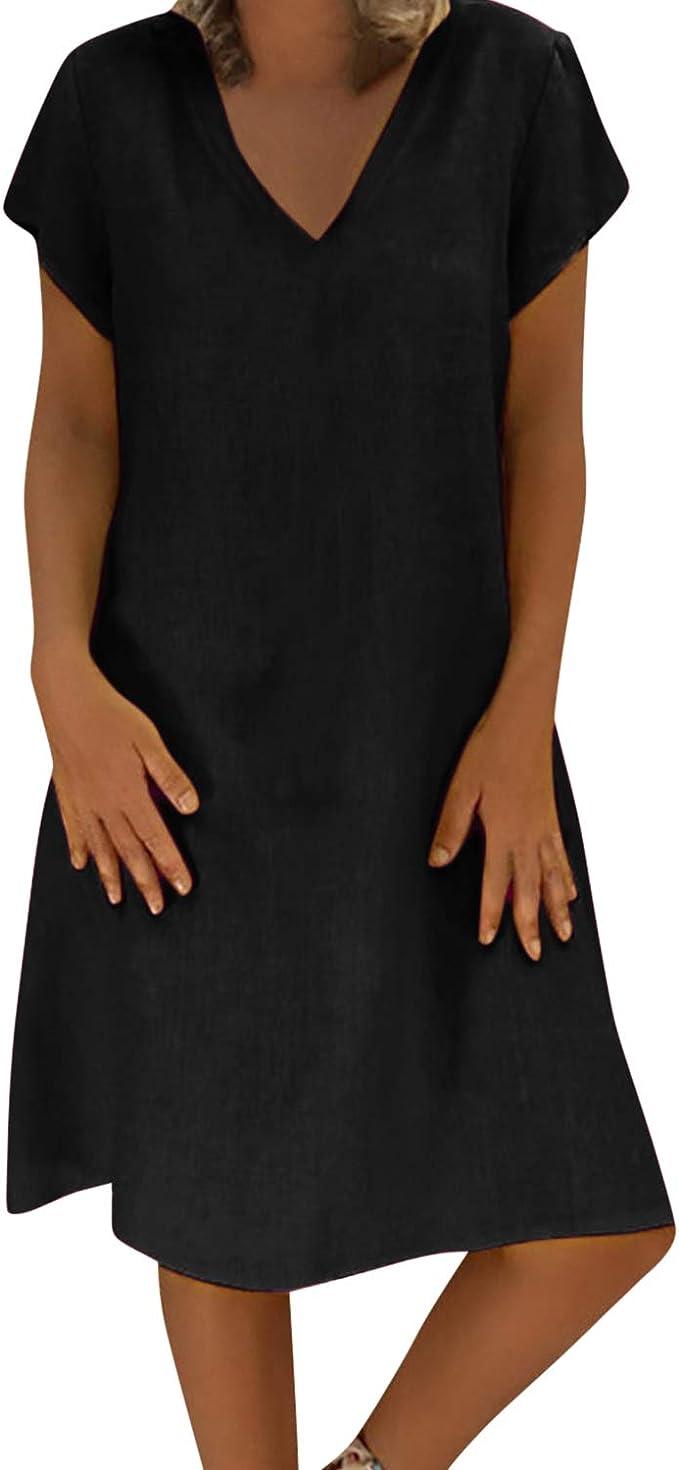 LAEMILIA Damen Kleid A Linie Sommerkleid Einfarbig V-Ausschnitt