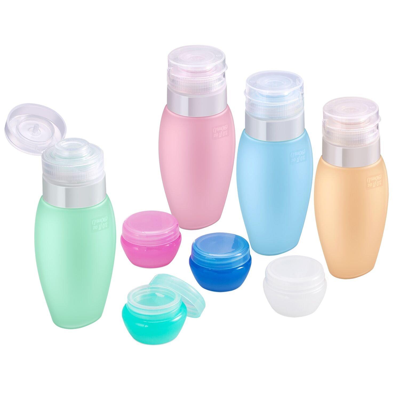 Silikon Reise Flaschen Set Auslaufsicher - Acdyion Flugzeug Handgepäck Kosmetiktasche für Shampoo, Cremes, Including 4er Silikon Flaschen und Kunststoff Döschen, TSA Genehmigte Gepäck (Mehrfarbig)