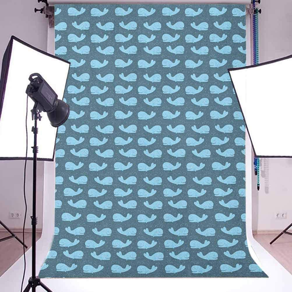 9x16 FT Whale Vinyl Photography Background Backdrops,Cartoon Style Cachalot Fish Silhouettes in Blue Tones with Little Dots Background for Selfie Birthday Party Pictures Photo Booth Shoot