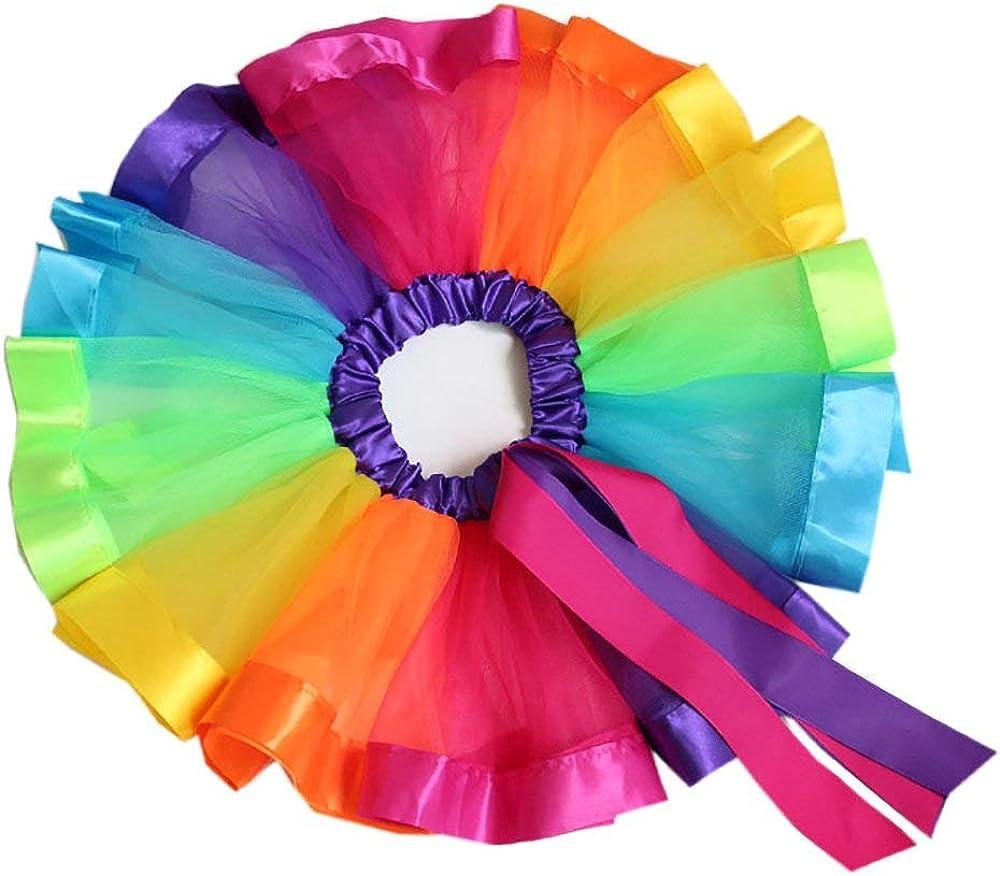 con Unicorno Fascia Yansion Gonna Tulle Bambina Ragazze Tutu Festa Danza Gonna Balletto Abito Arcobaleno Tutu Gonna Costume per Bambine Regalo di Compleanno 0-8 Anni