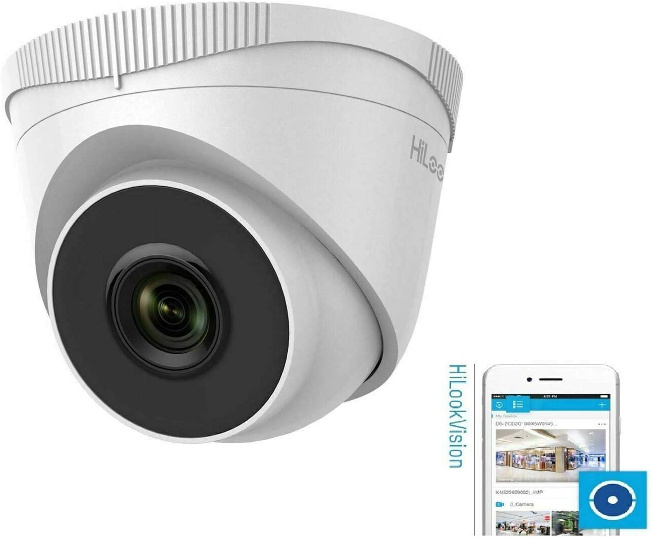 HiLook Series 4MP CMOS Outdoor IP Network CCTV Turret Camera White Hikvision IPC-T140 2.8mm HiWatch