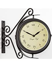 Bracket Mounted Outdoor Swivel Clock and Thermometer -31.5cm
