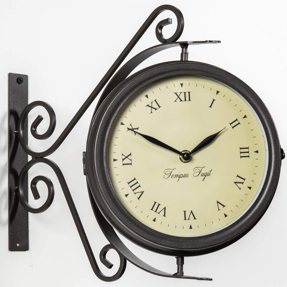 About Time Bracket Mounted Double Sided Garden Outdoor Clock and Thermometer - 31.5cm (12.4in) primrose.co.uk GG0099