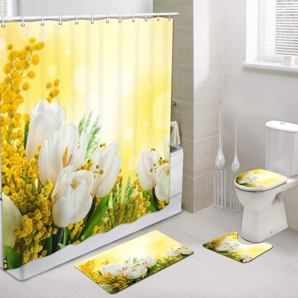 Amazon Com White Tulips Flowers Shower Curtains With Rug Set Spring Floral Wildflower Yellow Bathroom Accessory 4 Pcs Set 1 Polyester Fabric Bath Curtain 1 Bath Rug 1 Toilet Mat