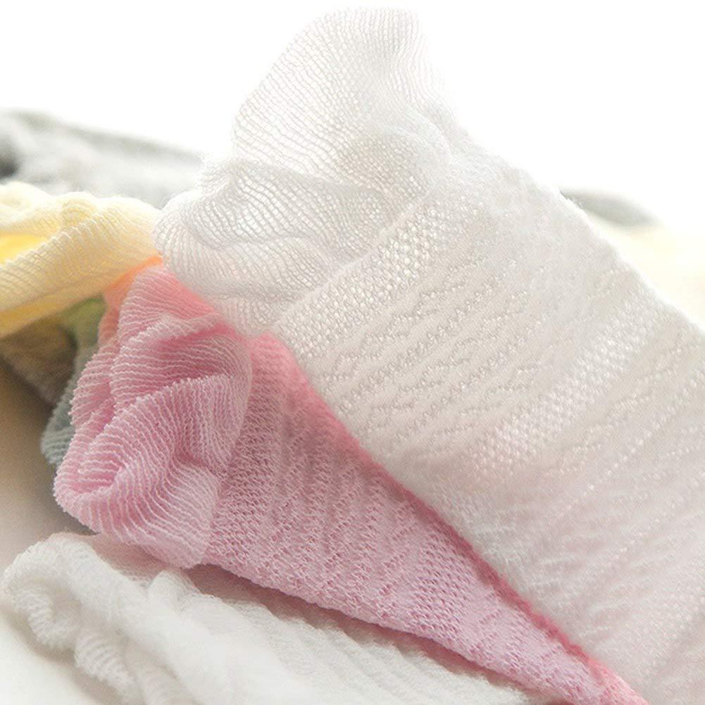 5 Pack Infant Toddler Thin Mesh Breathable Knee High Sock Baby Girls Tube Ruffled Stockings
