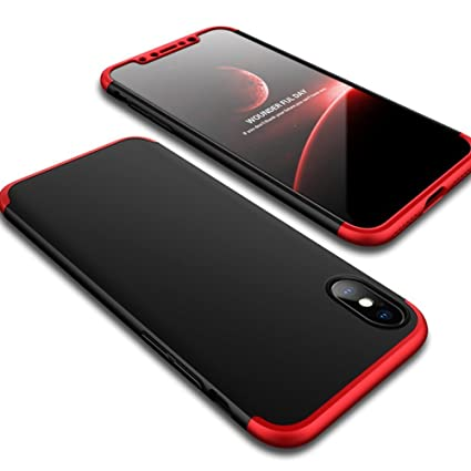 hot sale online 1a152 ecd54 Aeetz® iPhone X Case, iPhone X covers, Red-Black Colour Case, Knight Series  3 IN 1 Case [Hard] Hybrid PC [Milk Paint] 360¡ Full Protection Mobile ...