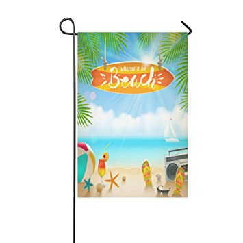interestprint con tabla de surf de playa Palm árbol de doble cara poliéster banderines de jardín