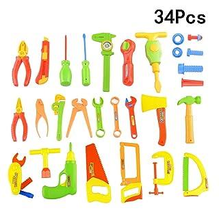 Toyvian 34 pz Bambini Fai da Te Strumenti di Riparazione Giocattolo per Bambini Gioco di Ruolo finga Gioca Giocattolo Set Giocattoli educativi di apprendimento (Colore Casuale)