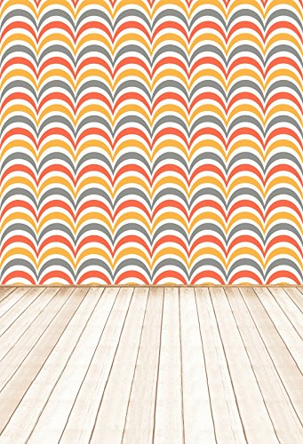 Yeele Arched Waves Chevron Backdrops 5x7ft /1.5 X 2.2M Red Orange Silver Stripe Light Brown Wooden Floor Pictures Adult Artistic Portrait Photoshoot Props Photography Background