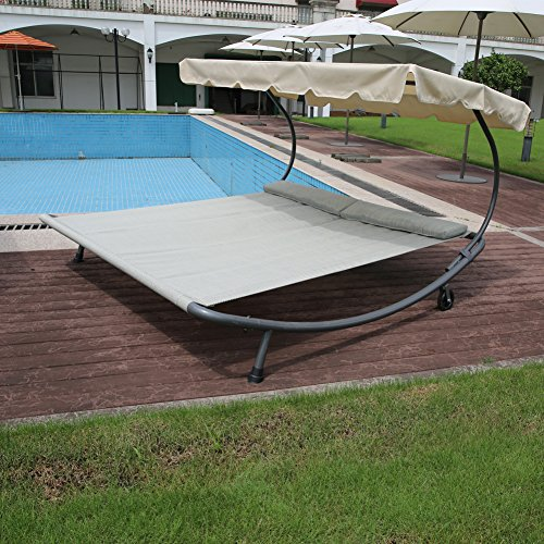 Abba patio outdoor portable double chaise lounge hammock bed with sun shade and wheels green - Outdoor mobel lounge ...