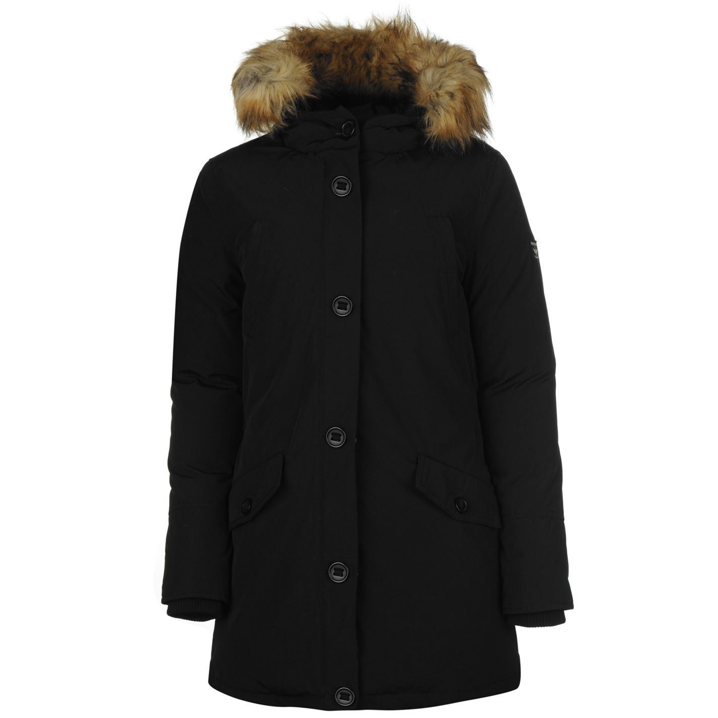 Firetrap Down Parka chaqueta para mujer Black Coat Ropa Chaquetas y abrigos, negro, UK 8 (XSmall)