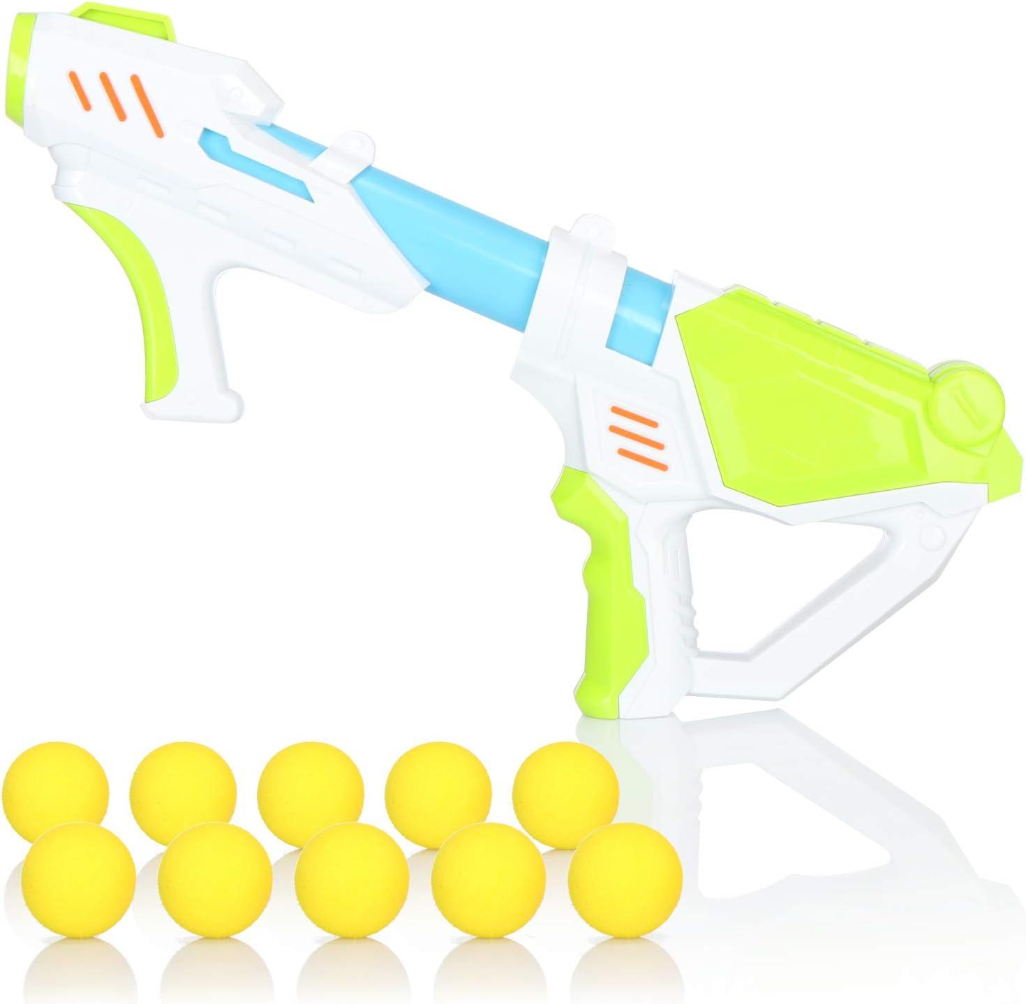 com-four® Pistola de Pelotas - Pistola de Pelotas de Espuma - Pistola de Juguete con Pelotas Blandas - Pistola de Juguete con Mecanismo de Bomba de Aire comprimido (01 Piezas - Blanco/Verde)