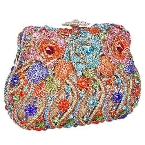 Girls Evening Bonjanvye Delicate Colorful Bags for Clutch Rose Studded Orange Crystal Bag WzdxqY4nd