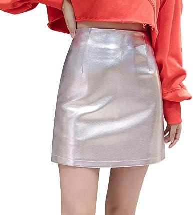 LPATTERN Mini Falda de Cuero de Imitación Brillante para Mujer con ...