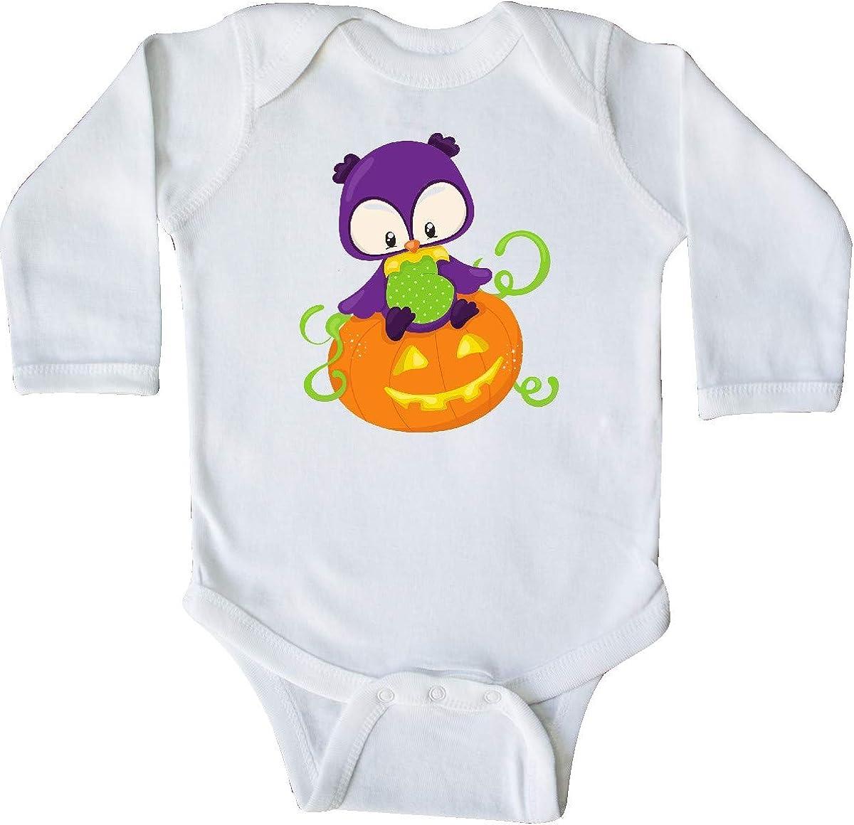 inktastic Purple Owl Halloween Long Sleeve Creeper Carved Pumpkin
