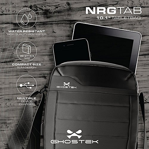 "Ghostek NRGtab Series Best 10.1"" Tablet Bag Carrying Travel Shoulder Business School + 16000mAh Battery with Power LED Indicator + 3 USB Ports 