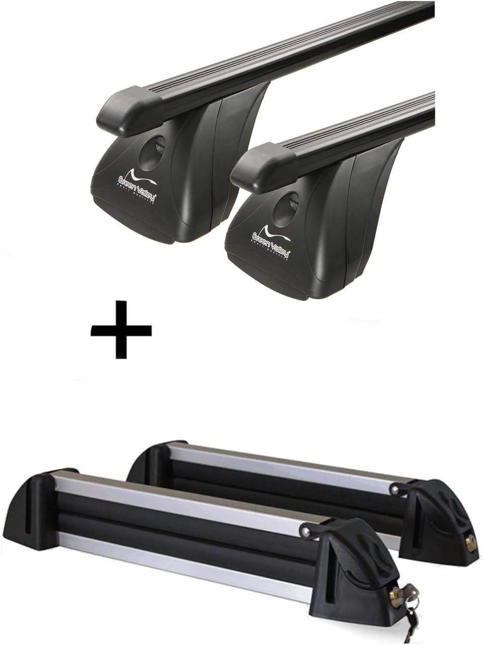 Skitr/äger//Snowboardtr/äger//Skihalter Alu 4 Paar Ski kompatibel mit Ford Focus III Kombi 5 T/ürer ab 2011 VDP Dachtr/äger Original Stahl