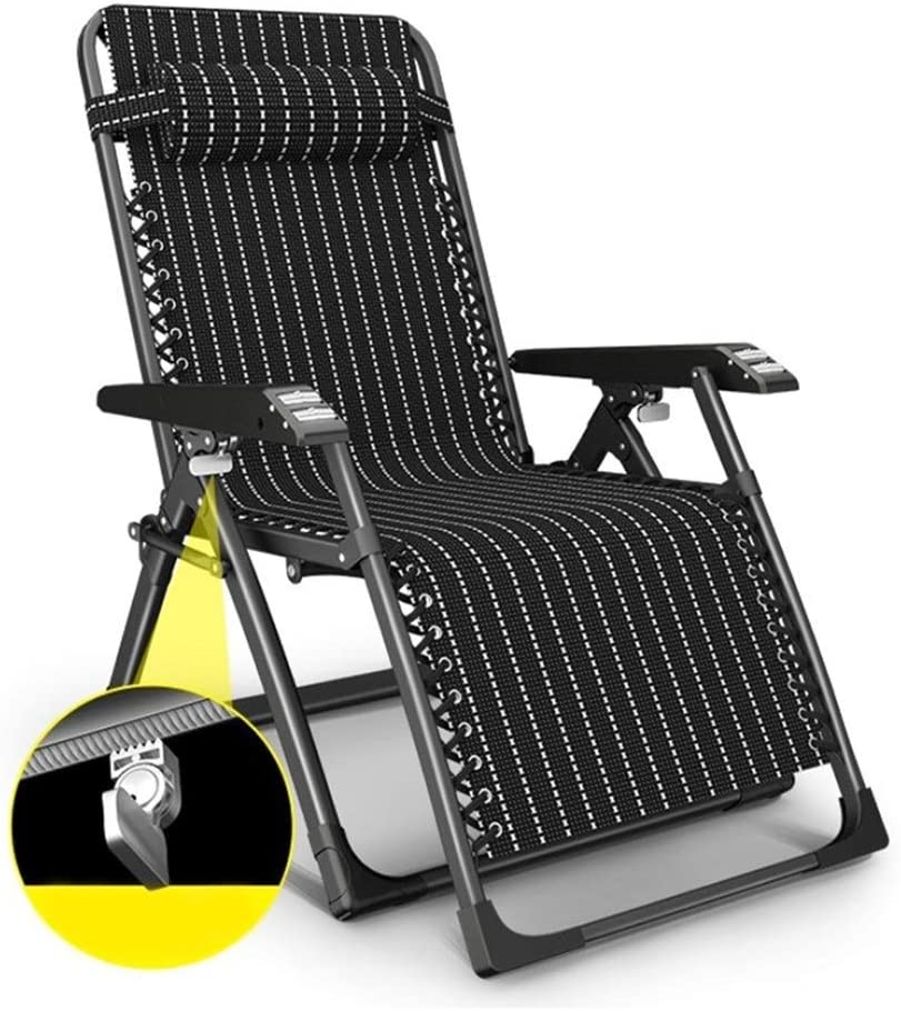 Heavy Duty Garden Chair Zero Gravity Sun Lounger Foldable, Reclining Recliner Chairs Chaise Lounge Deckchairs Waterproof and Lightweight Metal for Patio Furniture Outdoor Office, 178x67x49cm, Black L1