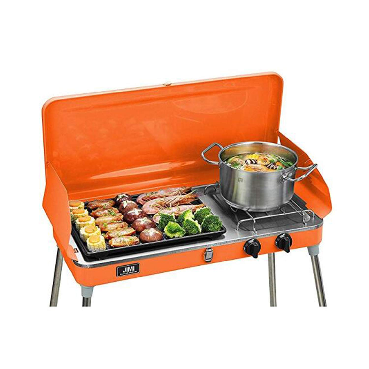 Liquid Propane BBQ Gas Grill,Barbecue Grill Outdoor Cooking Camping Stove Portable Stainless Steel,Orange by Wonlink