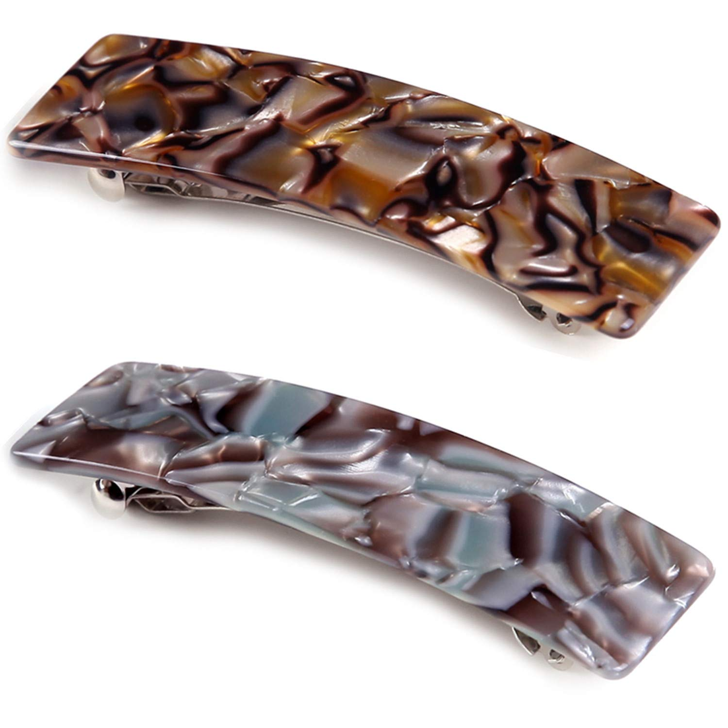 2PCS Hair Barrettes Tortoise Shell French Design Celluloid Rectangle Hair Clips for Women : Beauty