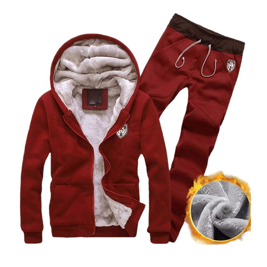 Men's Hoodie Running Sweat Suit Full Zipper Jogging Tracksuit Jacket and Pants Athletics Sports Activewear