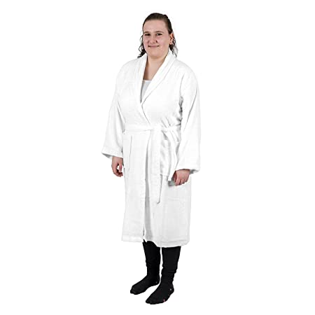 Homescapes White Adults Dressing Gown with Luxury Shawl Collar 100%  Egyptian Cotton Terry Towelling Unisex Bathrobe 5dbe750cc