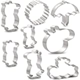 HONYAO Peppa Pig Cookie Cutters for Kids - 8 PCS - Peppa Pig,George Pig,Daddy Pig,Mummy Pig,Pig Head,Sun,Umbrella and Message Board - Stainless Steel