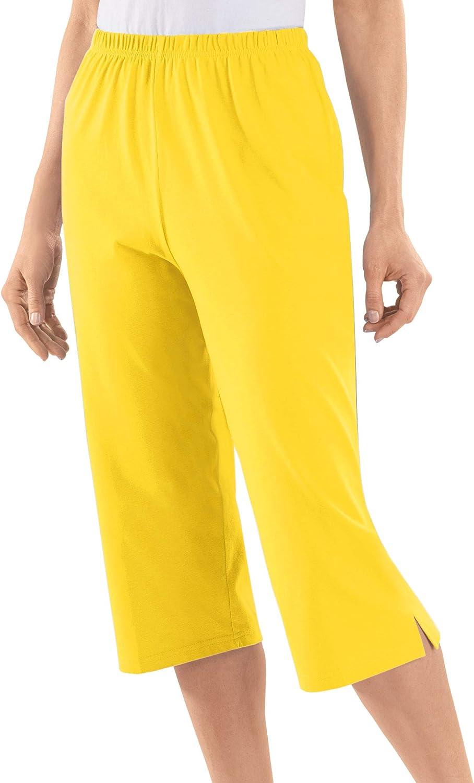 AmeriMark Capris Elastic Waist 100/% Cotton Knit Pull On Comfort Fit Side Pockets