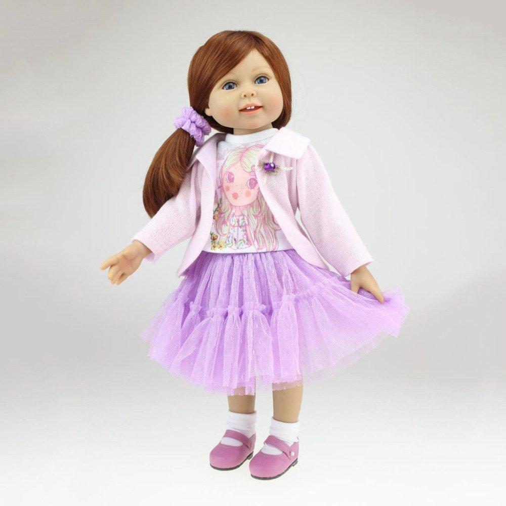 QXMEI Reborn Baby Cute Girl Toy Regeneration Muñeca Suave 18 Pulgadas 45cm Realistic Smile Princess Purple Dress Muñeca Reciclada