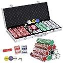 bbbuyポーカーチップ500のセットwith Aluminumケース、5ダイスチップ、2Decks ofトランプカード、Dealer
