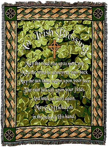 (Pure Country Weavers - Irish Blessing May The Road Rise Up to Meet You Poem Woven Tapestry Throw Blanket with Fringe Cotton USA 72x54)