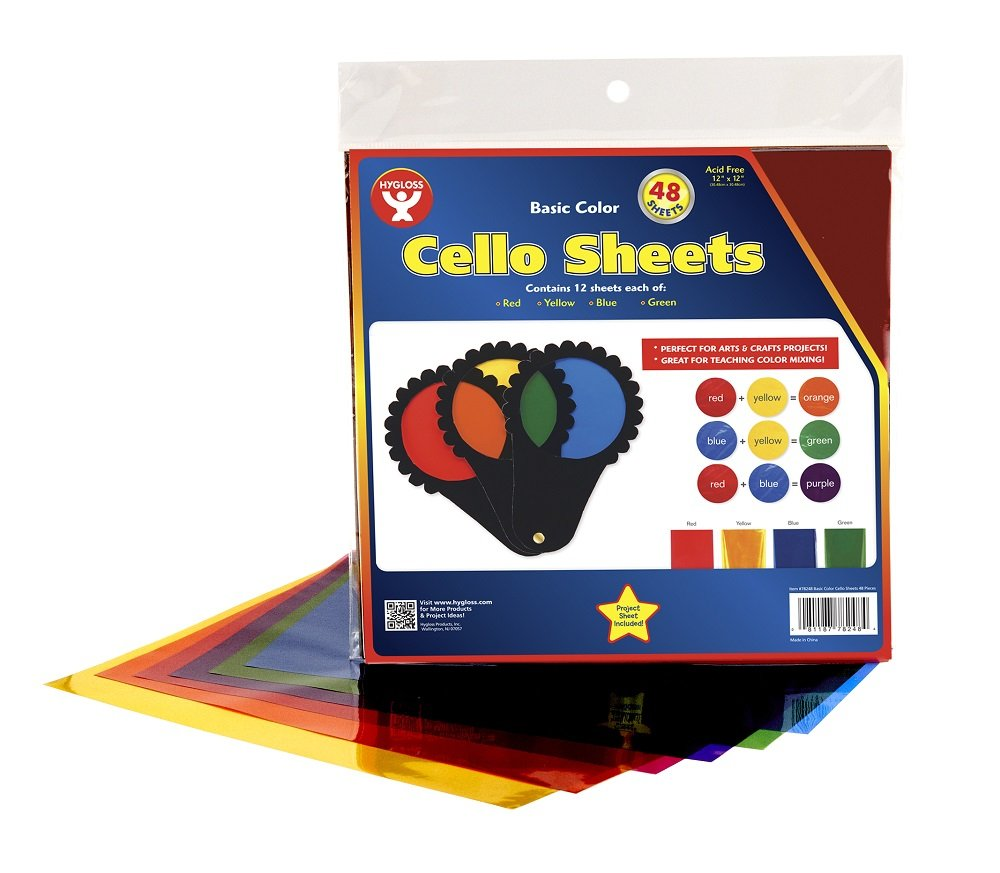 Hygloss Products Cellophane Squares – 48 Cello Sheets for Crafts, Gifts, and Baskets - 12 x 12 Inch, Primary Colors