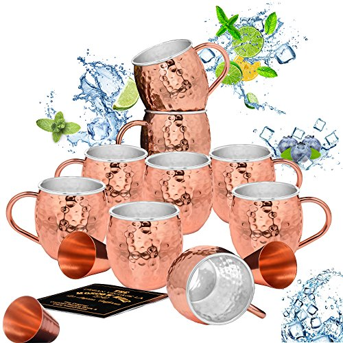 Set of 8 Moscow Mule Copper Mugs with Stainless-Steel Lining