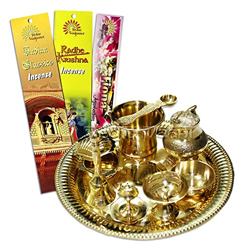 Classic Urn Lamp (Set of Hindu Exclusive Puja Thali in Brass - Vedic Vaani)