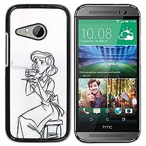 YOYOYO ( NO PARA HTC ONE M8 ) Smartphone Protección Defender Duro Negro Funda Imagen Diseño Carcasa Tapa Case Skin Cover Para HTC ONE MINI 2 M8 MINI - café madre madres taza boceto mamá