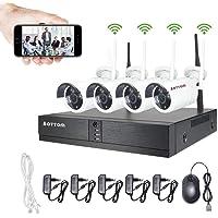 Aottom Kit Camaras Seguridad Vigilancia WiFi, WiFi Kit Videovigilancia, 4CH 1080P NVR+ 4 720P Cámaras, Sistemas de…