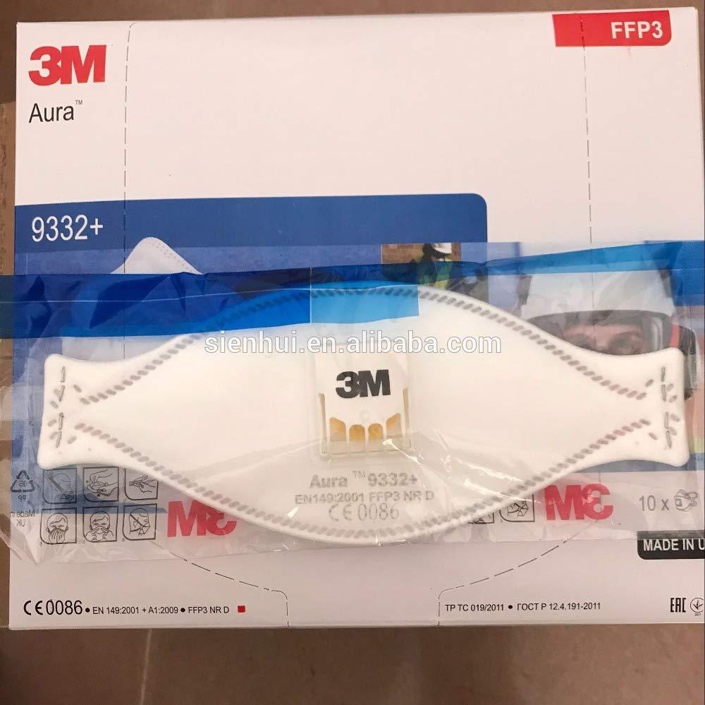 3M Aura Flat Fold Face Mask Disposable Dust, Mist, Fume Respirator, FFP3, Valved, 9332+ (10 Masks)