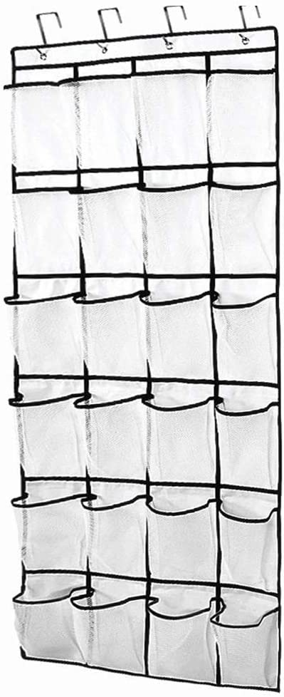 HiwowDaily 24 Pockets Crystal Clear Over The Door Hanging Shoe Organizer, White (60'' x 22'')