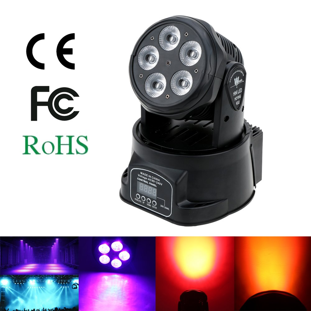 Lixada 75W 5 LED Luz de Escenario DMX512 Control de Sonido Rotaci/ón Autom/ática 10//15 Canales Colores Cambiando Cabeza Luz M/óvil para Discoteca KTV Club Party