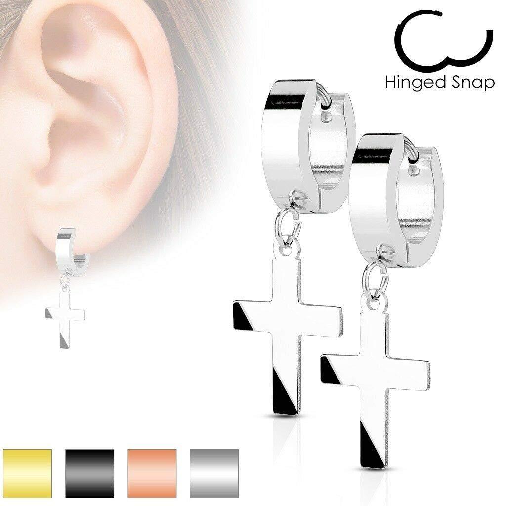 0.8mm Size 20 Gauge adt/_pi 2 Pc Gold Cross Stud Huggie Hoop Earrings Men Women Ear Lobe Piercings Fashion Jewelry