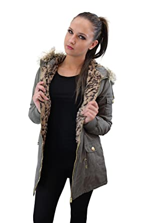 c88d704a7b96 Celeb Look Brave Soul Hooded Parka With Fur Leopard Print Lining (10 ...
