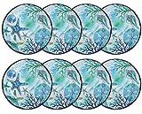Blue Ocean Starfish Lightweight Melamine Dinner Plates, 10.5-inch Diameter (Set of 8)