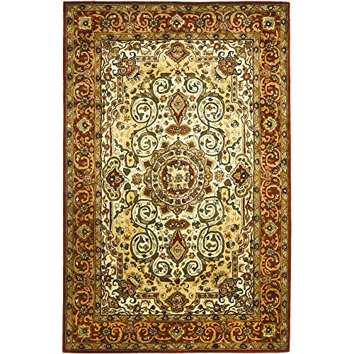Safavieh Persian Legend Collection PL531A Handmade Traditional Ivory and Rust Wool Area Rug (4
