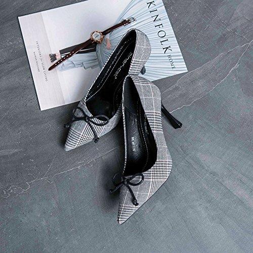 fine scarpe pattini donne Tie singoli ZHZNVX di alta Bow donna punta e in gray America con scarpe donna Il con Europa di in scarpe filtro OwHaq1