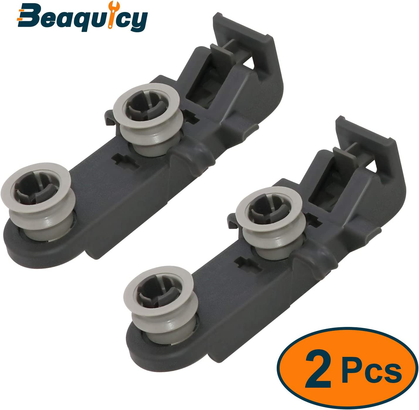 W10350401 Dishwasher Rack Roller Wheel by Beaquicy - Replacement for Whirlpool Admiral Kenmore Jenn-Air dishwasher - Dishrack Wheel Assembly (2 Pack)