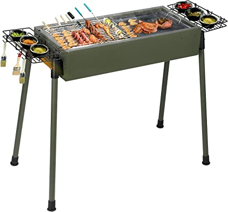 Suitable for 5-10 People BBQ Party Camping Picnic Uten Stainless Steel BBQ Grill,Outdoor Smoker Barbecue Charcoal BBQ Grill Garden